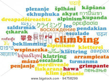Background concept wordcloud multilanguage international many language illustration of climbing