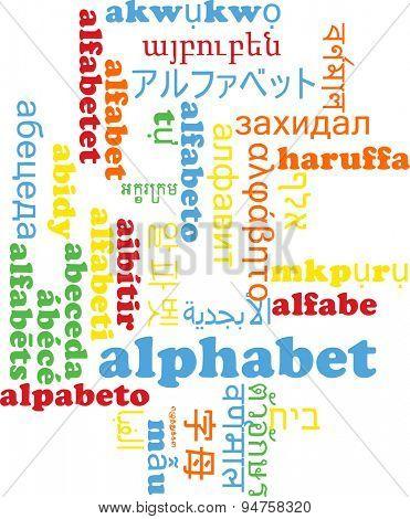 Background concept wordcloud multilanguage international many language illustration of alphabet