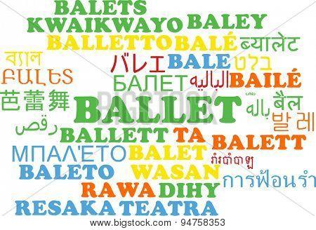 Background concept wordcloud multilanguage international many language illustration of ballet
