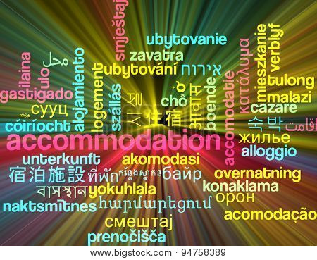Background concept wordcloud multilanguage international many language illustration of accommodation glowing light