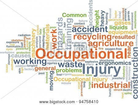 Background concept wordcloud illustration of occupational injury