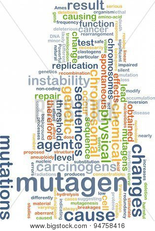 Background concept wordcloud illustration of mutagen