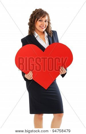 Businesswoman Holding Red Paper Heart