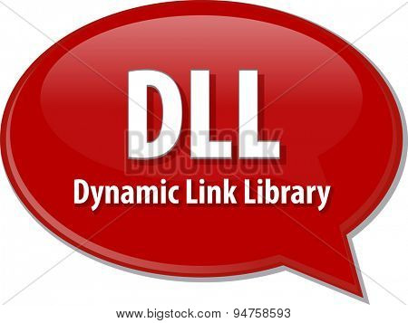Speech bubble illustration of information technology acronym abbreviation term definition DLL Dynamic Link Library