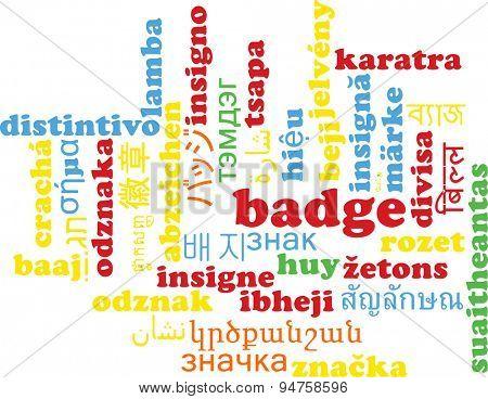 Background concept wordcloud multilanguage international many language illustration of badge