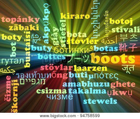 Background concept wordcloud multilanguage international many language illustration of boots glowing light