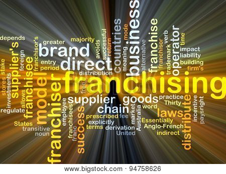 Background concept wordcloud illustration of franchising glowing light