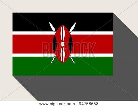 Kenya flag in flat web design style.