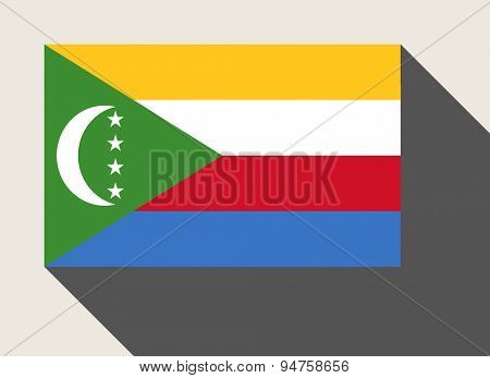 Comoros flag in flat web design style.