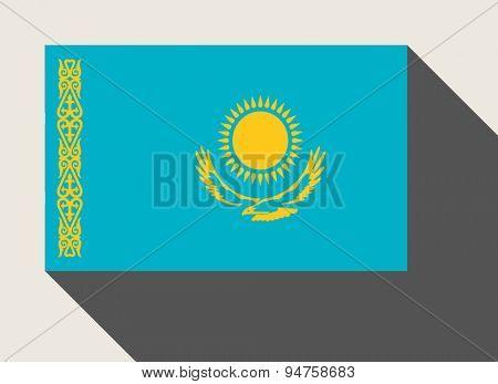 Kazakhstan flag in flat web design style.