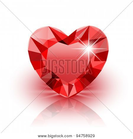 Vector Icon red Diamond Heart for Valentine on white background. Illustration.