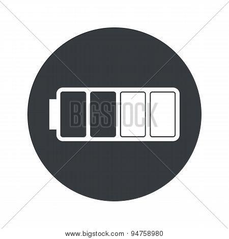 Monochrome round half battery icon