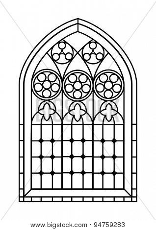 A Gothic Style stained glass window in black and white. Outline drawing  colouring activity page.