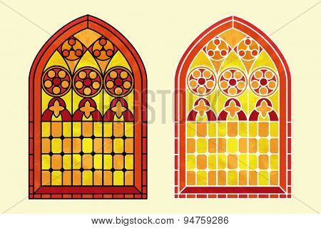 A Gothic Style stained glass window in warm tones of red, orange and yellow. Two options with black or white outline.