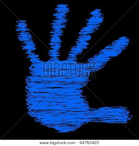Conceptual painted drawing hand shape print or scribble isolated on black paper background