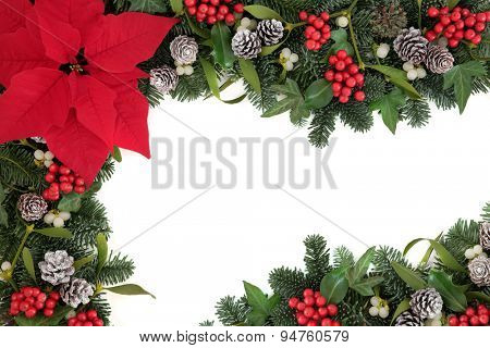 Thanksgiving and christmas border with red poinsettia flower, holly, ivy, mistletoe, blue spruce fir and snow covered pine cones over white.