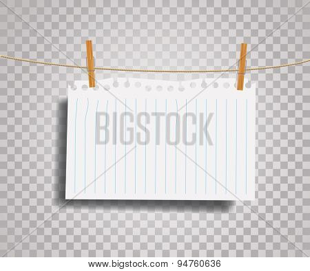 vector blank ripped notebook paper on rope