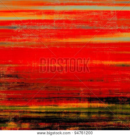 Cracks and stains on a vintage textured background. With different color patterns: brown; black; green; red (orange)