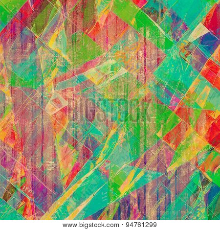 Art vintage background with space for text and different color patterns: yellow (beige); blue; green; pink; red (orange)