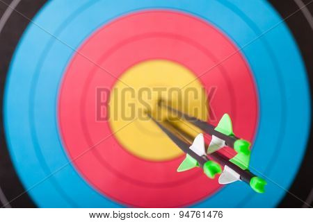Arrows in archery target
