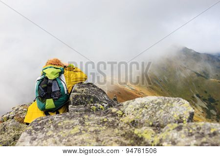 Female Photographer Shooting A Mountain Scenery