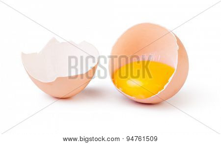 Broken eggs isolated on white background