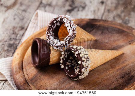 Ice cream cones isolated on white background