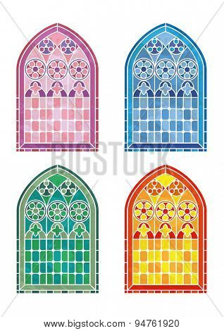 Stained glass window stencils in four colour variations. EPS10 vector format
