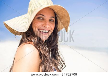 Pretty brunette looking at camera at the beach on a sunny day