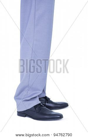 Close up view of businessman shoes on white background