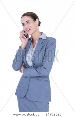 Businesswoman calling with her smartphone on white background