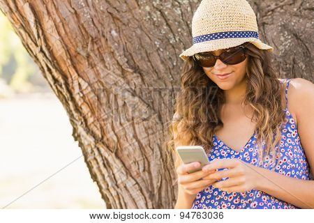 Pretty brunette texting in the park on a sunny day