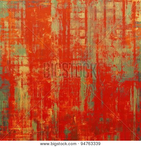 Old grunge antique texture. With different color patterns: brown; gray; green; red (orange)