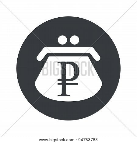 Monochrome round ruble purse icon