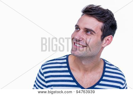 handsome hipster looking away on white background