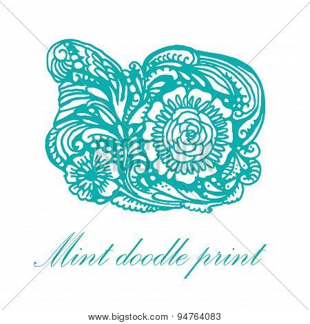 Doodle turquoise patterns and flowers vector illustration