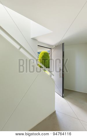 architecture, entrance of modern house, open door