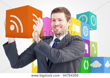 Smiling businessman showing something with his hands against wifi app