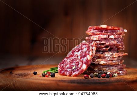 sausage on a wooden table
