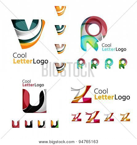 Letter business emblems, icon set. Design made of abstract overlapping geometric flowing shapes