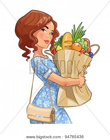 Beautiful girl with package of products. Shopping. Eps10 vector illustration. Isolated on white background