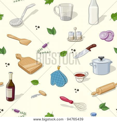 Kitchen utensils. Seamless pattern. Eps10 vector illustration.