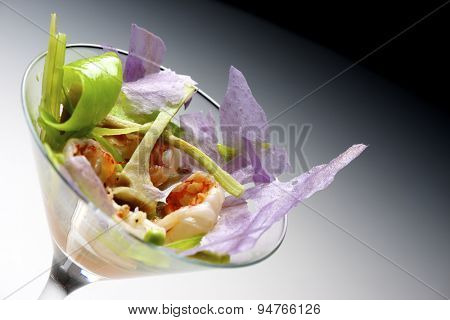 Prawn cocktail served in a crystal goblet.
