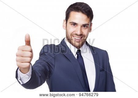 Happy smiling businessman with thumb up, isolated on white background