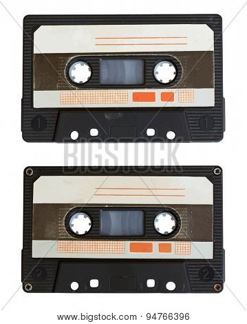 audio cassette isolated on white background. side A and B, vector