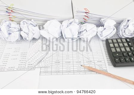 Bankruptcy Of House Have Paper Ball With Paperwork As Background