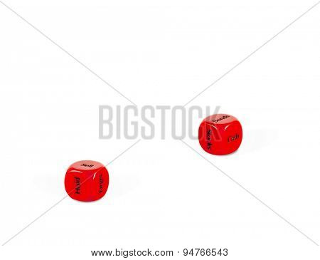 stock market dice on white