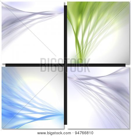 Set of Abstract blue green wave vector backgrounds
