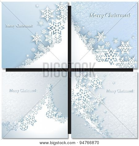 Christmas background with snowflakes. Paper design