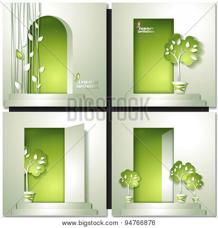 Green summer invitation card. Eco Door House Vector